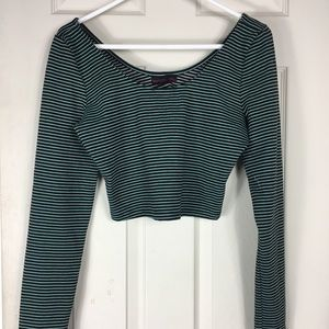 Material Girl Striped Crop top Size L